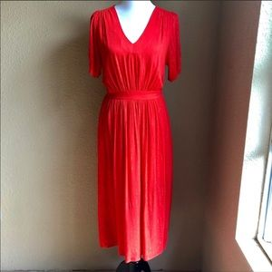 FRNCH V Neck red midi dress with gold thread sz S